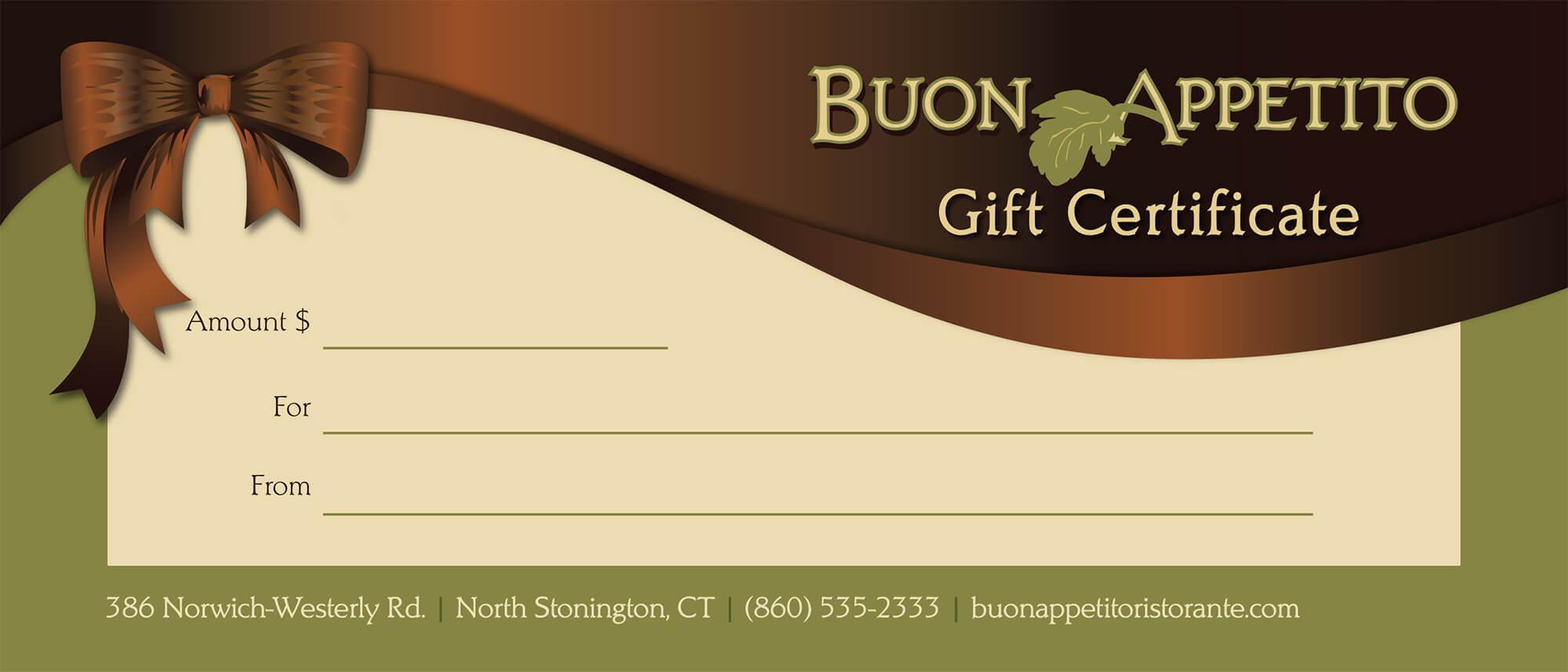 Gift Certificates For Buon Appetito Ristorante Pizzeria